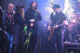 Rita Haney, Dave Grohl and Scott Ian at Dimebash 2020