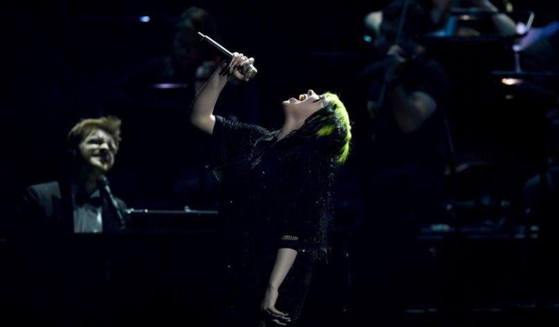 Billie Eilish perform at the Brit Awards