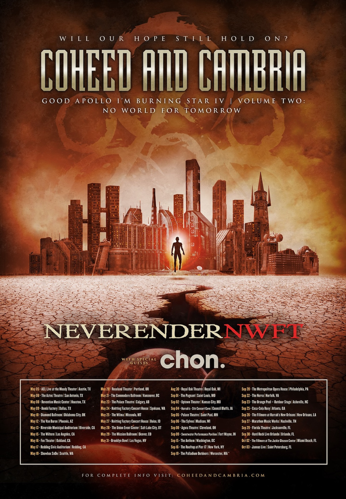 Coheed and Cambria 2020 tour poster