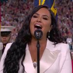 Demi Lovato performs at the 2020 Super Bowl