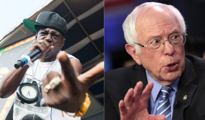 Flavor Flav (photo by Paul R. Giunta) and Bernie Sanders