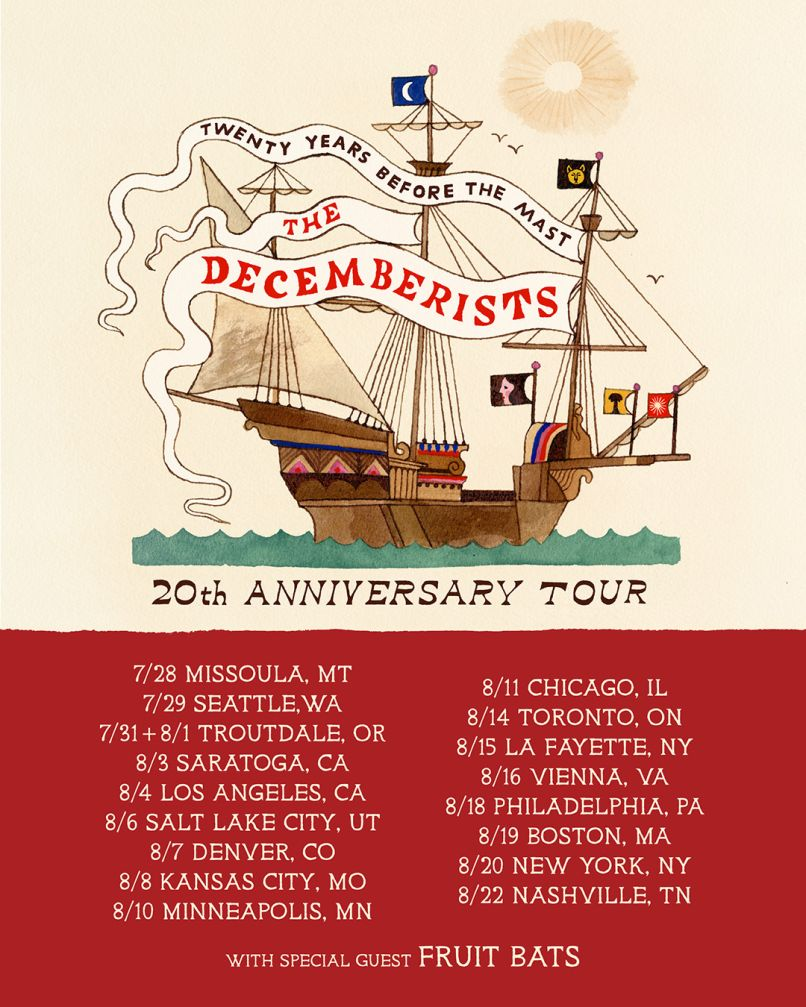 The Decemberists 20th anniversary tour poster