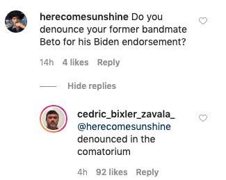 Cedric Bixler-Zavala Beto O'Rourke joe biden denounce endorsement