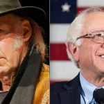 Neil Young (photo by Ryan Peterman) and Bernie Sanders endorsements celebrity musician endorsement