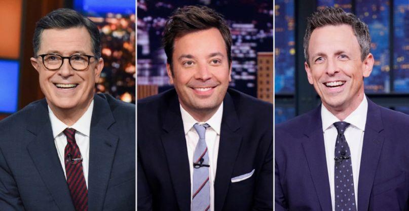 Stephen Colbert, Jimmy Fallon, and Seth Meyers