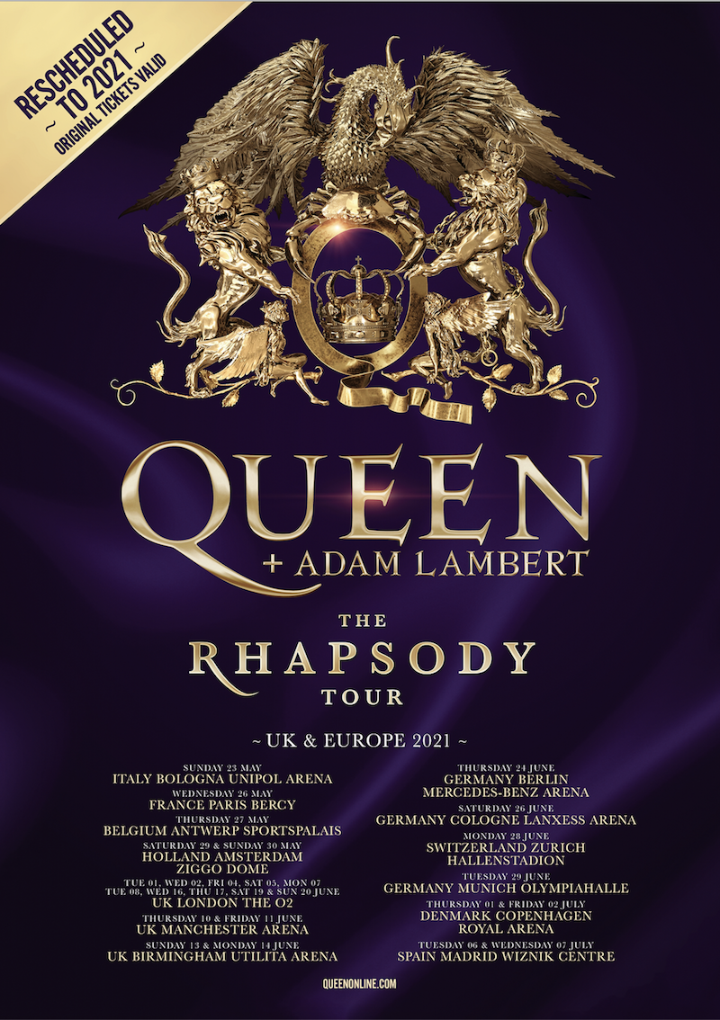 queen rhapsody tour dates rescheduled tickets Queen + Adam Lambert Reschedule Rhapsody Tour Due to Coronavirus Outbreak
