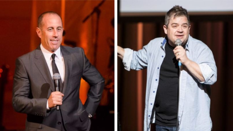 Jerry Seinfeld (Ben Kaye) and Patton Oswalt (Philip Cosores) Netflix special comedy standup