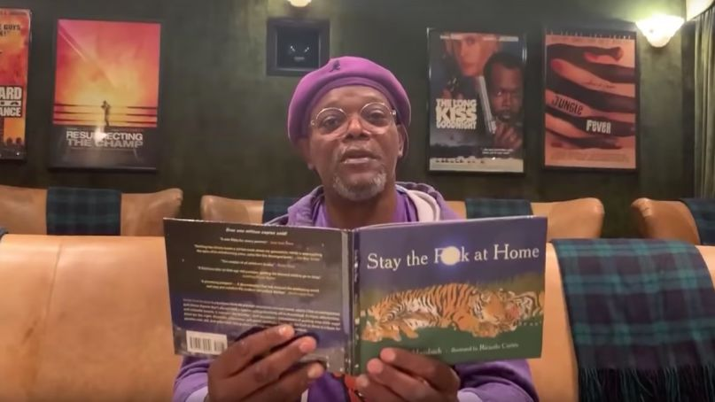 Samuel L. Jackson book stay the fuck at home quarantine coronavirus on Jimmy Kimmel Live