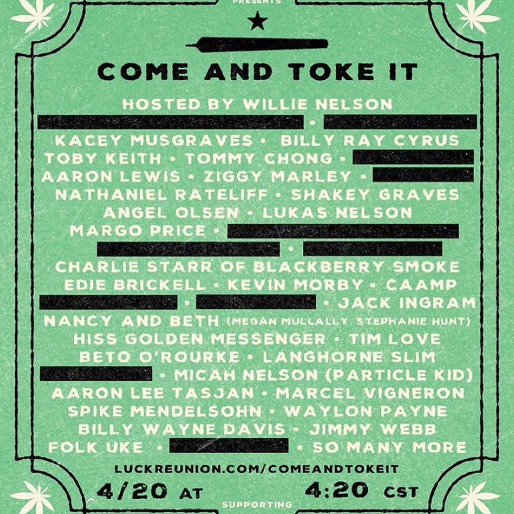 Willie Nelson Come and Toke It lineup