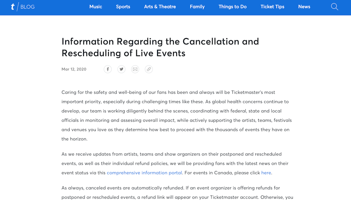 ticketmaster march 12 Ticketmaster Quietly Changes Refund Policy in the Wake of Pandemic