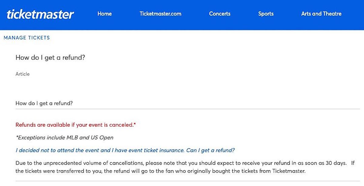 ticketmaster refund policy new after Ticketmaster Quietly Changes Refund Policy in the Wake of Pandemic
