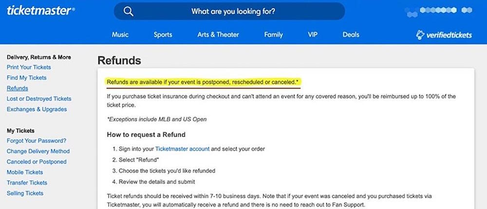 ticketmaster refund policy old before Ticketmaster Quietly Changes Refund Policy in the Wake of Pandemic