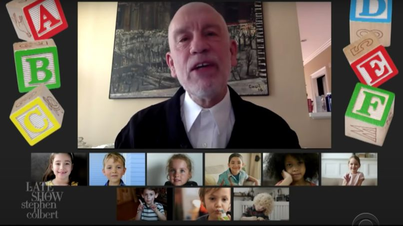 John Malkovich graduation speech preschool preschoolers video Late Show with Stephen Colbert)