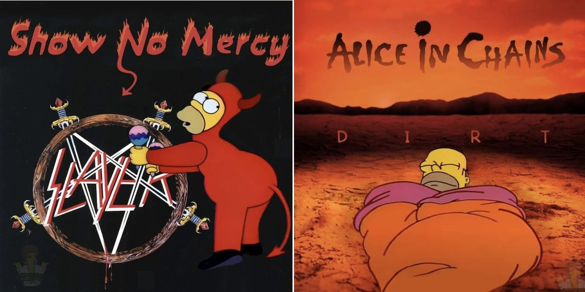 Instagram artists reimagine rock and metal album covers with Simpsons characters