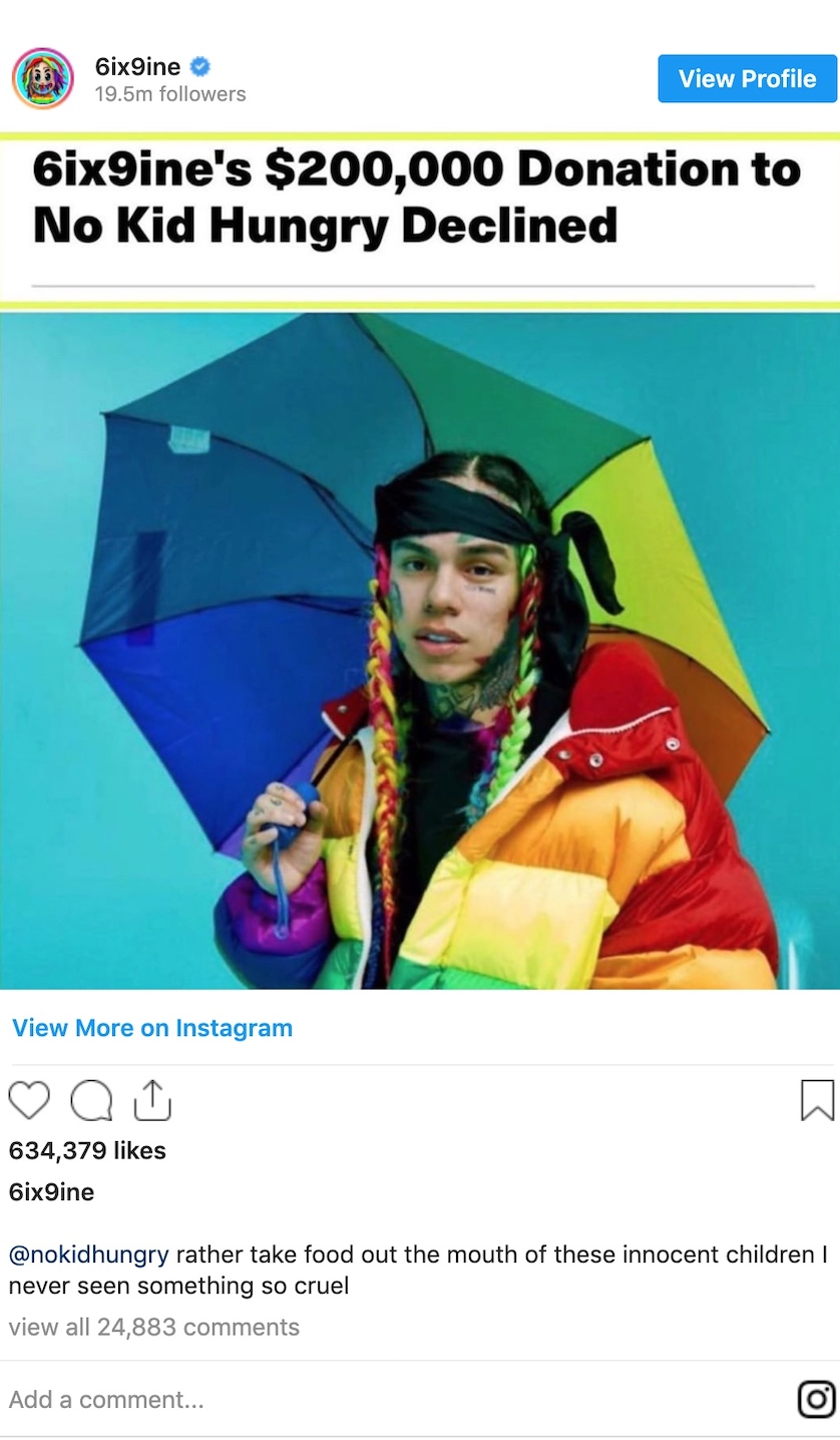Tekashi 6ix9ine's $200,000 Donation Rejected by Child Hunger Charity no kid hungry instagram post reject
