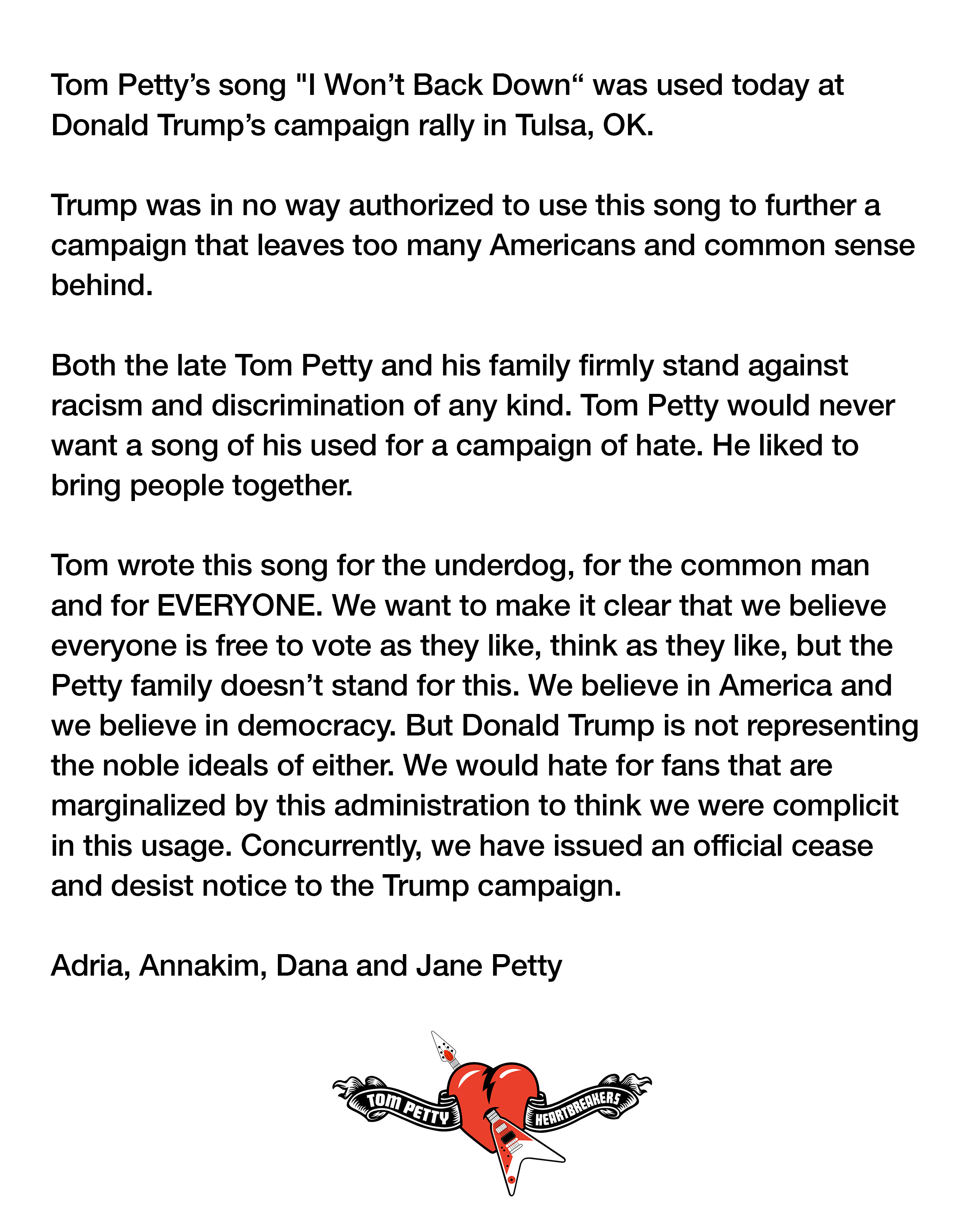 Tom Petty Trump statement