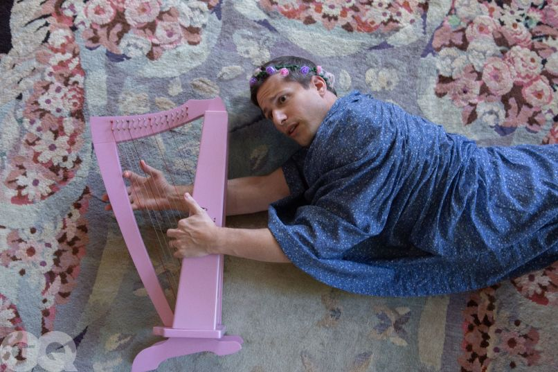 Andy Samberg and the baby harp, photo by Annabel Mehran