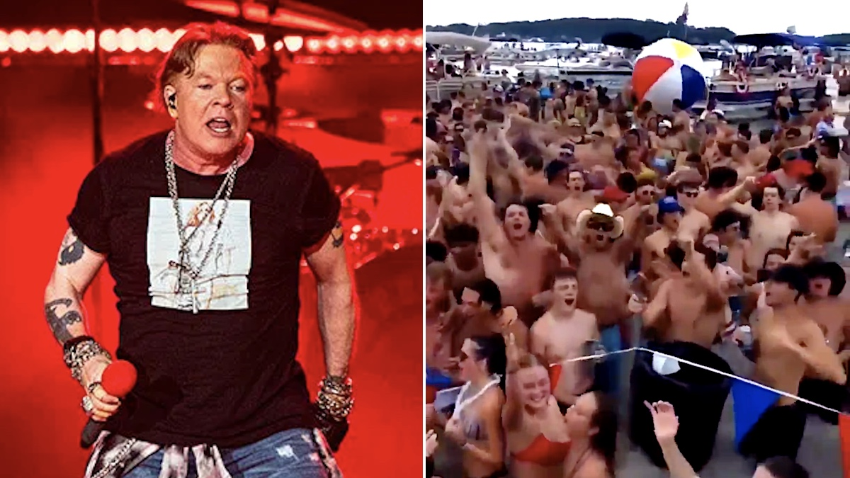 """Axl Rose's worst nightmare: Maskless revelers dance to """"Sweet Child O' Mine"""" at packed Michigan lake party"""