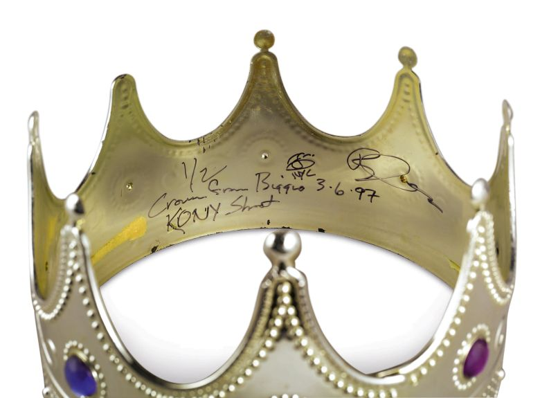 10395 Crown Worn by Notorious B.I.G. Signed by Biggie Smalls and Signed and Inscribed by Claiborne Crown from Biggie KONY Shot NYC 3 6 97 Sothebys to Auction Off The Notorious B.I.G.s King of New York Crown