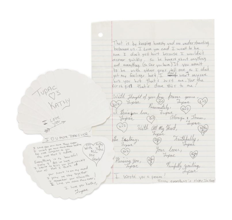 10395 Tupac Shakur High School Love Letter and Card to Kathy Loy Sothebys to Auction Off The Notorious B.I.G.s King of New York Crown