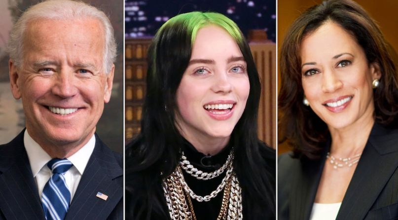 Joe Biden, Billie Eilish, and Kamala Harris
