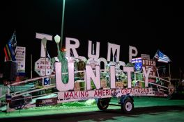 "The ""Trump Unity Bridge"" is parked outside of a hotel during the 80th annual Sturgis Motorcycle Rally on Saturday, Aug. 15, 2020, in Sturgis, S.D. (Amy Harris)"