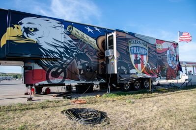 "The ""Bikers for Trump"" mobile command station is parked off of Main Street during the 80th annual Sturgis Motorcycle Rally on Saturday, Aug. 15, 2020, in Sturgis, S.D. (Amy Harris)"