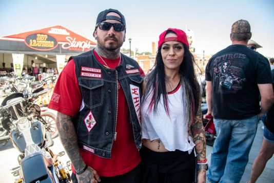 Bikers pose for a photo during the 80th annual Sturgis Motorcycle Rally on Friday, Aug. 14, 2020, in Sturgis, S.D. (Amy Harris)