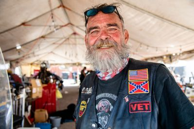 Lewis Cook poses for a photo in the Preschool Choppers popup tent during the 80th annual Sturgis Motorcycle Rally on Friday, Aug. 14, 2020, in Sturgis, S.D. (Amy Harris)
