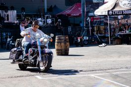 A biker participates in a barrel race at the Broken Spoke Saloon during the 80th annual Sturgis Motorcycle Rally on Friday, Aug. 14, 2020, in Sturgis, S.D. (Amy Harris)