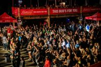 Fans attend a performance by Saul at the Iron Horse Saloon during the 80th annual Sturgis Motorcycle Rally on Friday, Aug. 14, 2020, in Sturgis, S.D. (Amy Harris)