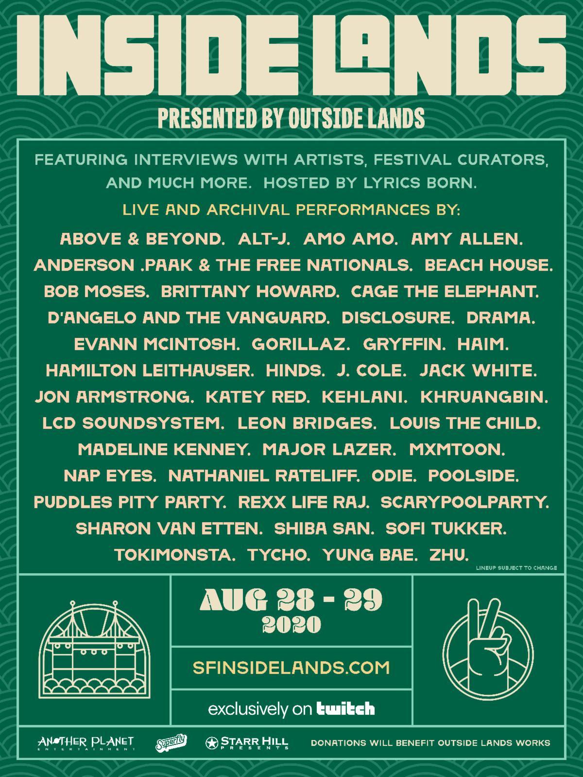 outside lands inside lands virtual livestream festival lineup poster 2020