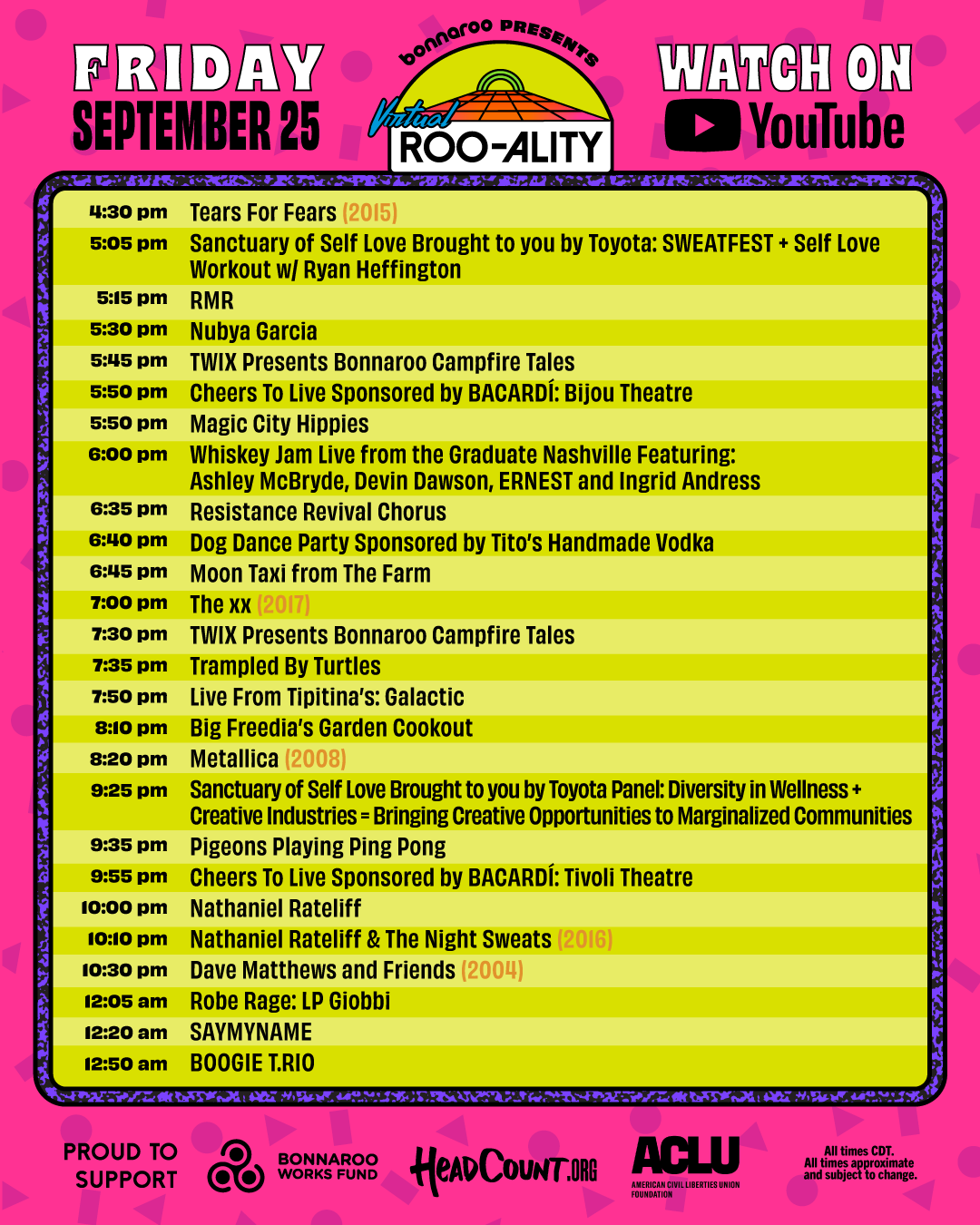 Bonnaroo Friday schedule