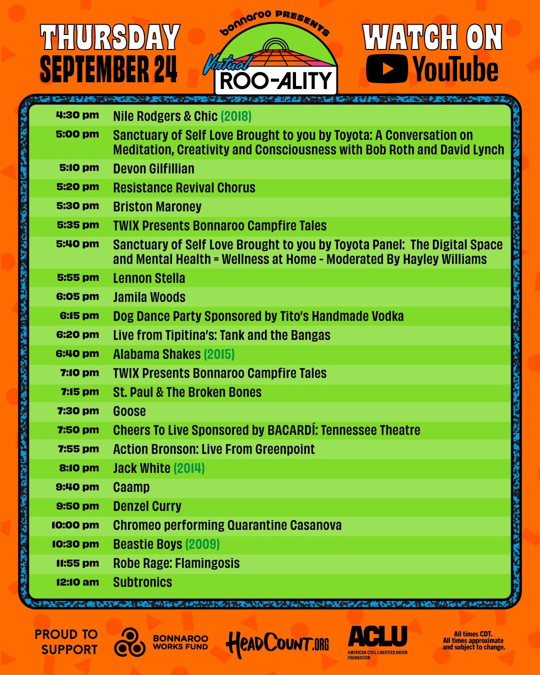 Bonnaroo Thursday schedule