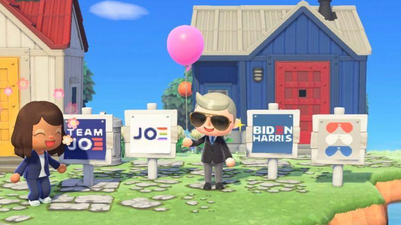 joe biden kamala harris presidential campaign animal crossing