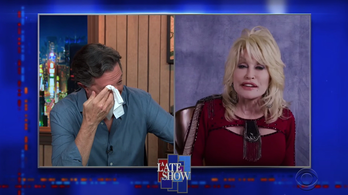 """Dolly Parton makes Stephen Colbert cry singing """"Bury Me Beneath the Willow"""": Watch"""