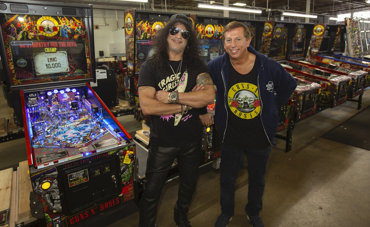Slash with Jersey Jacks founder Slash: New Guns N Roses Pinball Machines Are Way Beyond My Expectations