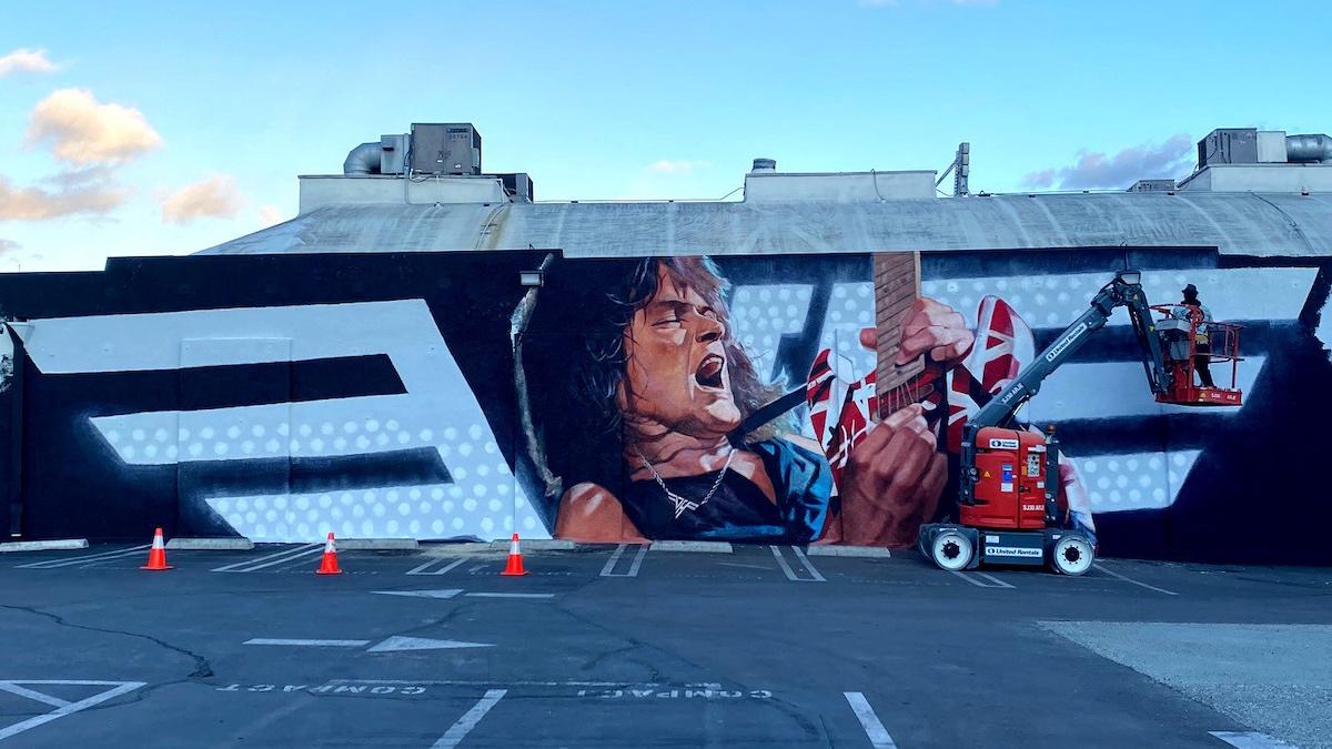 Giant Eddie Van Halen Mural unveiled outside Hollywood Guitar Center