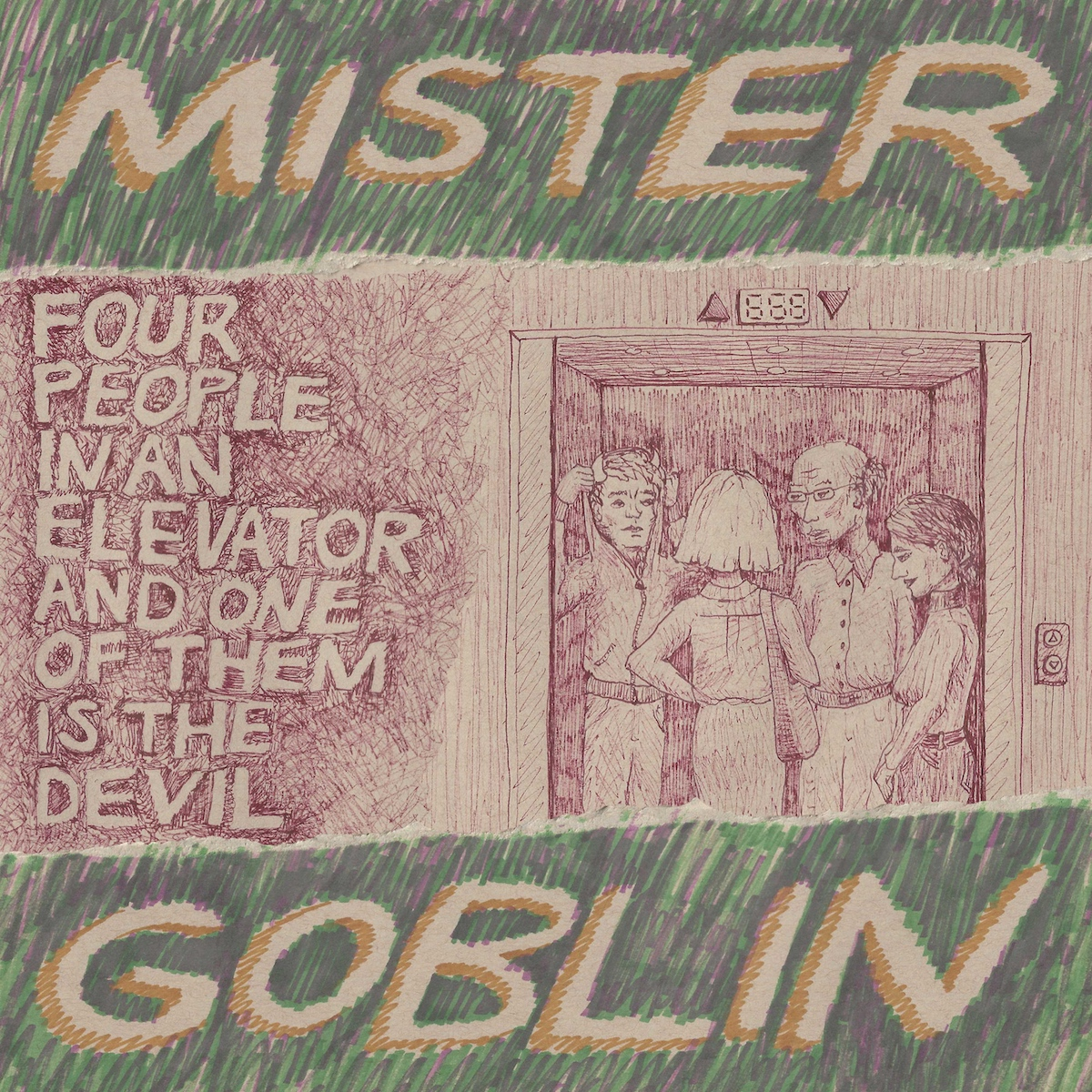 mister goblin six flags america four people in an elevator and one of them is the devil new album cover artwork