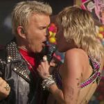 Miley Cyrus performs with Billy Idol at Super Bowl pre-concert