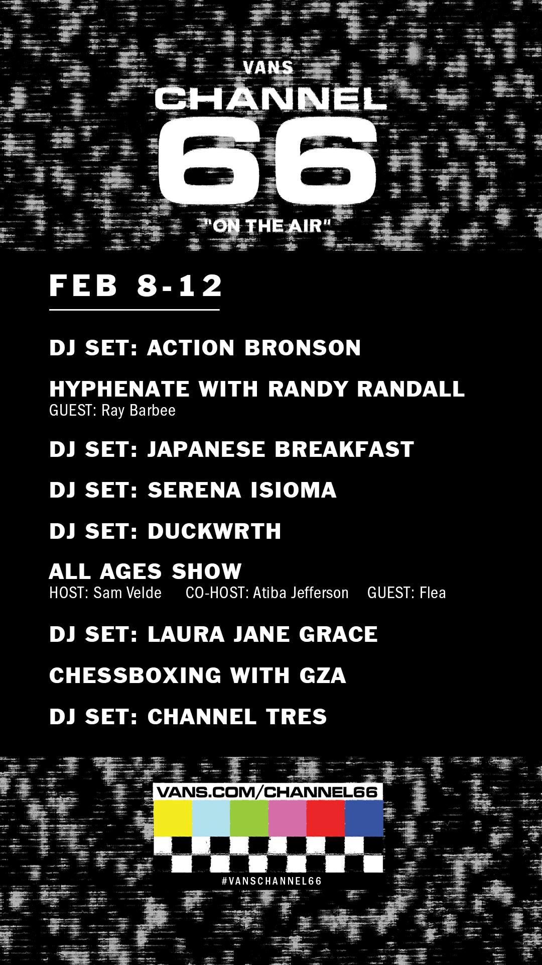 Schedule_Generic_Week01_Story_Revised vans channel 66 livestream schedule