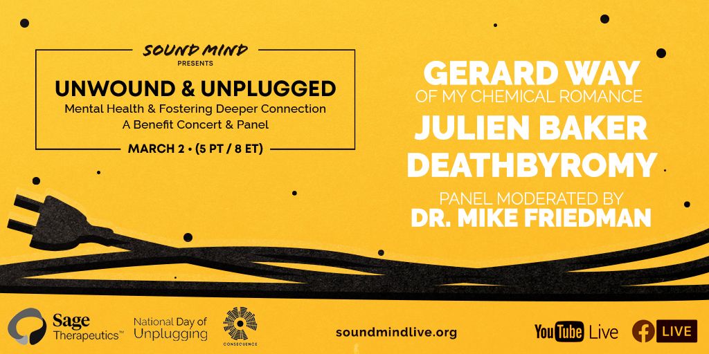 sound mind live unwound unplugged livestream concert poster julien baker gerard way